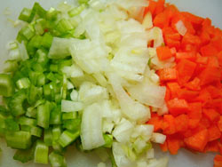 Celery, carrot and onion