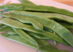 Washed runner beans